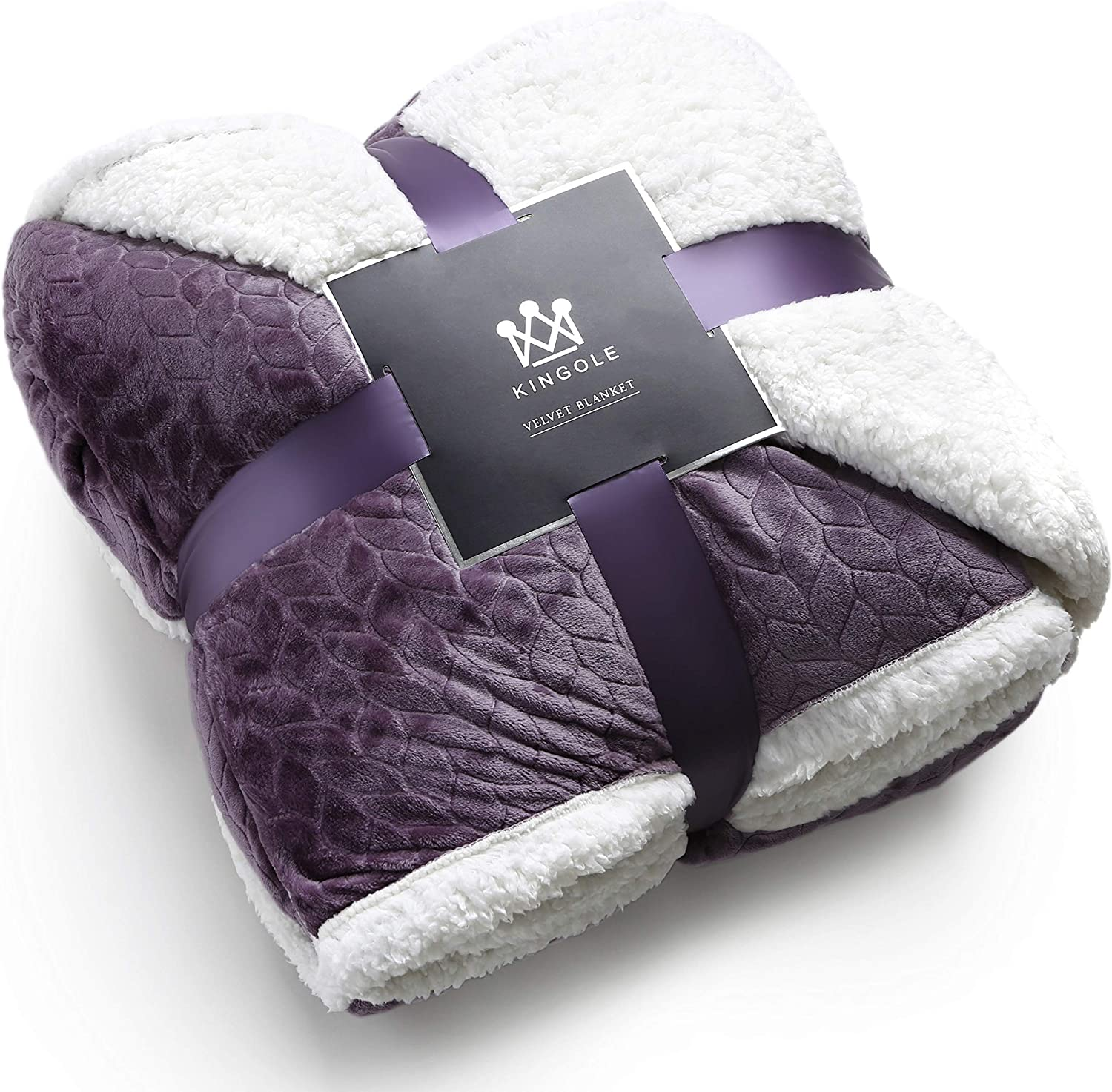 "Kingole Double-Layer Reversible Luxury Sherpa Blanket, Lavender Purple Twin Size Extra Warm Super Soft Cozy Plush for Couch Bed Microfiber 580GSM (66""x90"")"