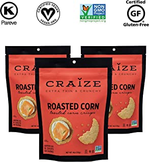 Craize Extra Thin & Crunchy Toasted Corn Crisps – Healthy Vegan All Natural Plant Based Crackers Non GMO Snack – Gluten Free – 3 Pack, 4 Ounces Each (Roasted)
