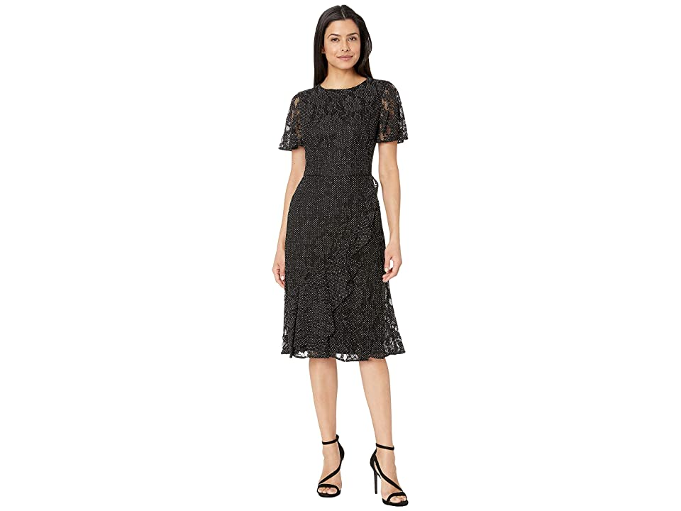 LAUREN Ralph Lauren Dotted Floral Lace Marguerite Short Sleeve Day Dress (Black/White) Women
