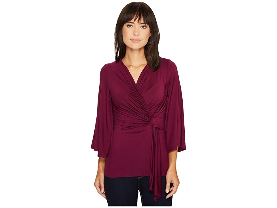 Karen Kane Twisted Drape Top (Berry) Women