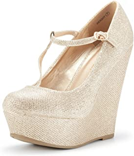 e4690034d1b DREAM PAIRS Mary Jane Platform Wedges Shoes for Women