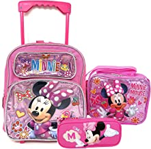 Disney mini Minnie Mouse Medium Rolling Backpack, lunch Box and fashion glasses School Set -