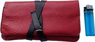 Astuccio porta tabacco custodia grande in vera pelle pregiata e riciclata bicolor col. Rosso e Nero fatto a mano in Italia...