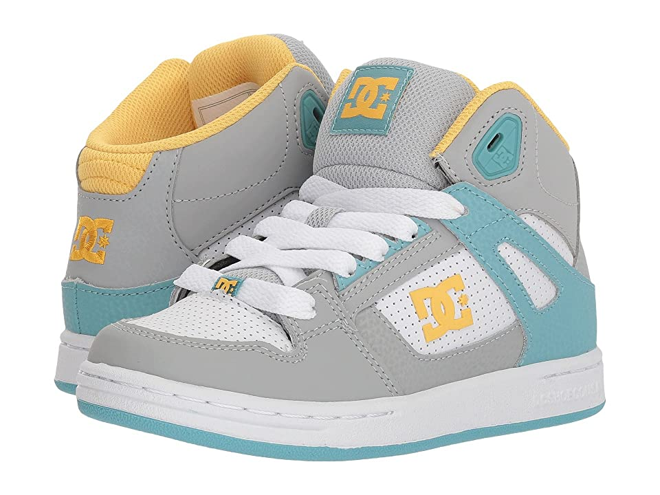 DC Kids Pure High-Top (Little Kid/Big Kid) (Turquoise/Citrus) Girls Shoes