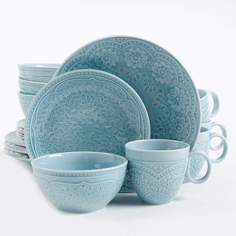 Gibson Elite Alemany 16 Piece Dinnerware Set Aqua