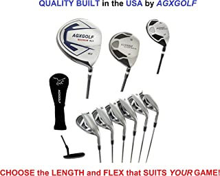 AGXGOLF Men's XS Tour Series Complete Golf Set: 460 Driver, 3 Wood, 4 Hybrid + 5-9 Irons +Pitching Wedge+Sand Wedge: Senior, Regular or Stiff Flex; Cadet, Regular or Tall Length; Right Hand: USA