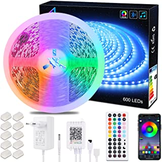 ALED Light LED-Streifen, 10 m, 600 LEDs, Kit 5050 RGB SMD LEDs, sanfte Farbwechsel, 24 V, Netzteil mit 44 Tasten, Empfänge...