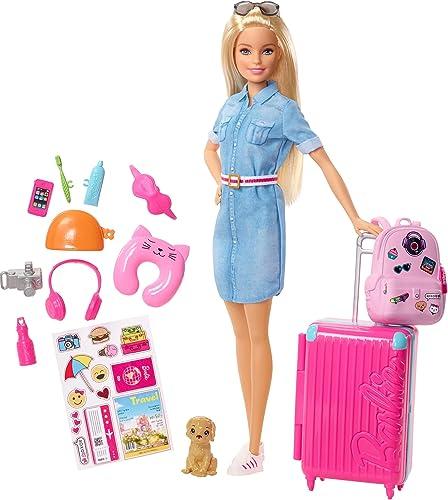 Barbie Voyage poupée blonde avec sa valise et son sac à dos, figurine de chien, autocollants et accessoires, jouet po...
