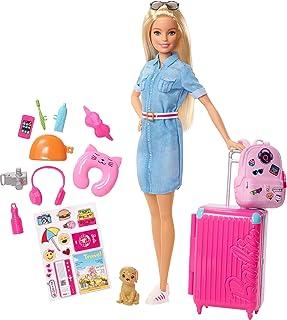 Barbie Voyage poupée blonde avec sa valise et son sac à dos, figurine de chien, autocollants et accessoires, jouet pour en...