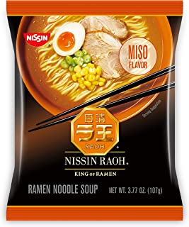 Nissin RAOH, Miso Flavor, Authentic Japanese-Style Ramen, 3.53oz. (6-Count)
