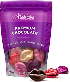 Madelaine Chocolate Lips - Valentine's Day Chocolate Candy - Premium Milk Chocolate Lips Individually Wrapped In Lipstick Colored Italian Foils (1/2 LB)