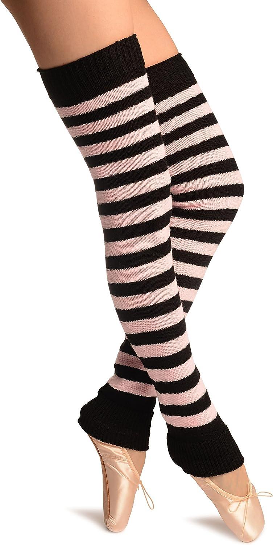 Pink & Black Stripes Dance/Ballet Leg Warmers - Leg Warmers