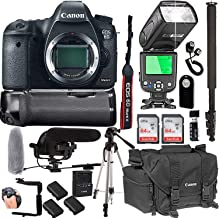 Canon EOS 6D Mark II Body Only + 128GB Memory + Canon Deluxe Camera Bag + Pro Battery Bundle + Power Grip + Microphone + TTL Speed Light (20pc Bundle)