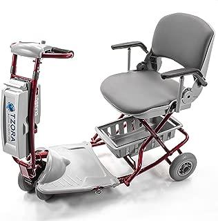 Tzora - Classic Lexis Light - Folding Lightweight Travel Scooter - 4-Wheel - Red