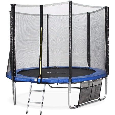 Alice's Garden - Cama elastica, Trampolin de 245 cm (estructura reforzada). Incluye: escalera + funda protectora + bolsilla para zapatos - PLUTON XXL
