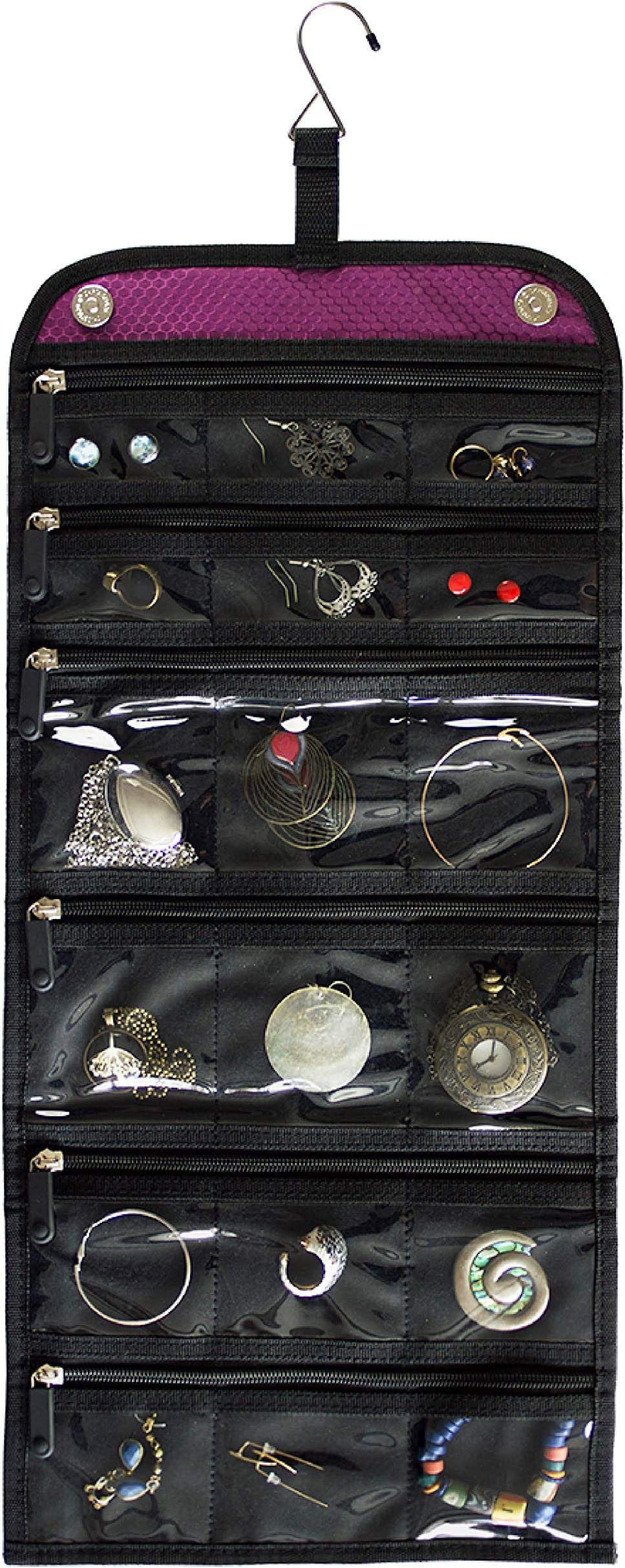 Jaimie Hanging Travel Jewelry Organizer - Double Sided and Portable - 23 Zippered Pockets in 6 Sizes - Foldable Accessory Necklace Ring Bracelet Organizer for Travel & Home