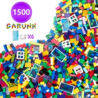 GARUNK 1500 Pieces Building Bricks for Kids, 1500 Pcs Classice Building Blocks for Children with Doors and Windows, Compatible with All Major Brands for Ages 3 4 5 6 7 8 9 10 Year Old Boys & Girls