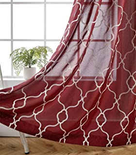 MIUCO Moroccan Embroidered Semi Sheer Curtains Faux Linen Grommet Window Curtains for Bedrooom 52 x 84 Inch 2 Panels, Burgundy
