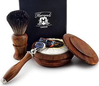 4 PCs Wooden Shaving Set with 5 Edge Compatible Cartridge Razor, Black Synthetic Badger Look Alike Hair Brush,Soap & Bowl