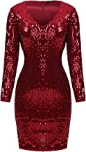Mixfeer Women Sexy Bodycon Dress V Neck Long Sleeve Sequin Cocktail Party Club Evening Mini Dress