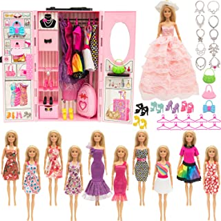 SOTOGO Doll Closet Wardrobe Set for Barbie Clothes Storage Including Clothes, Shoes, Bags, Necklace, Hangers, Trunk, Wardr...