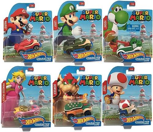Hot Wheels Super Mario 6 Set Charakterfahrzeuge Die Cast Super Mario Fahrzeug Set