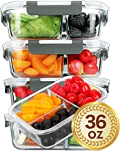 [5 Packs]Glass Meal Prep Containers 3 Compartment with Lids, Glass Lunch Containers,Food..
