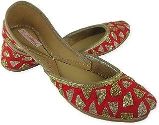 Fulkari Women's Soft Leather Bite and Pinch Free Triangle Gold Flat Jutti Ethnic Shoe
