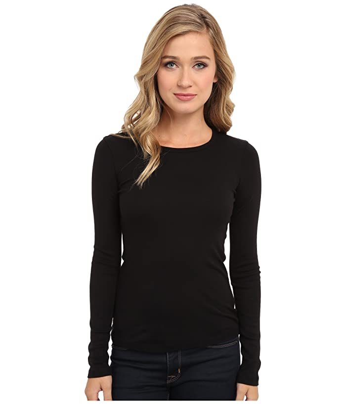 Splendid  1x1 Rib Classic Long Sleeve Crew Neck Tee (Black) Womens Long Sleeve Pullover