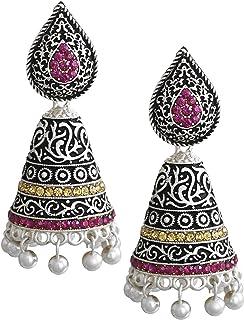 Zaveri Pearls Dark Antique Designer Oxidised Jhumki Earring for Women - ZPFK5977