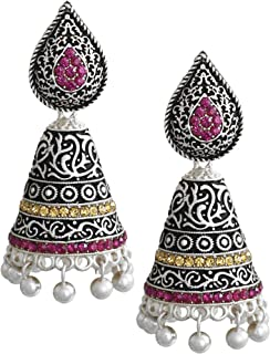 Zaveri Pearls Jhumki Earrings for Women (Silver) (ZPFK5977)
