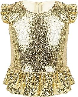 LiiYii Kids Girlst Flutter Sleeves Shiny Sequins T-Shirt Stage Performance Zipper Back Mermaid Tops