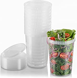 NYHI 32-oz. Round Clear Deli Containers with Lids   Stackable, Tamper-Proof BPA-Free Food Storage Containers   Recyclable Airtight Container for Kitchen Storage, Meal Prep, Take Out   18 Pack