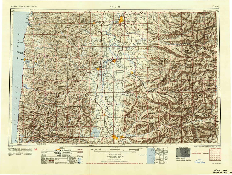 Tulsa Mall YellowMaps Salem OR topo Popular map 1:250000 Degree Scale 1 2 X Hist