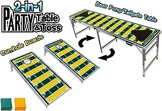 Green Bay Football Cornhole Boards & Beer Pong Table - LED Lights – Choose Your Model