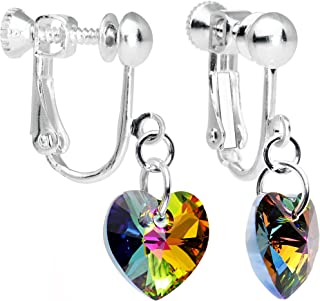 Body Candy Handcrafted Heart Clip Earrings Created with Swarovski Crystals