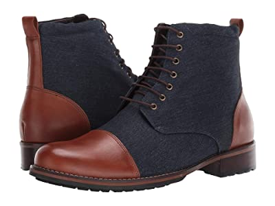 Massimo Matteo Two-Tone Boot (Marinho Canvas/Whiskey Leather) Men
