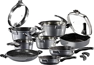 STONELINE Future Cookware Set, 13-Piece with Strainer Glass Lids Suitable for Induction Cookers