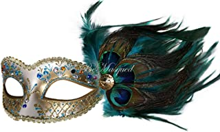 Peacock Feather Venetian Mask Blue Unisex Adult Women One-Size Masquerade Prom Mardi Gras Halloween Costume Party