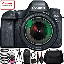 Canon EOS 6D Mark II with EF 24-105mm f/3.5-5.6 is STM Lens - 12PC Accessory Bundle Includes 3 Piece Filter Kit (UV, CPL, FLD) + 4 Piece Macro Filter Set (+1, 2, 4, 10) + Lens Cap Keeper + More