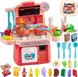 comprar comparacion HERSITY 26 Piezas Alimentos de Juguete Cocina de Juguete Infantil con Luz y Sonido Juego de Imitación Regalos para Niños N...