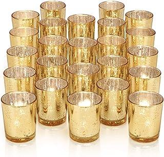 DARJEN 24Pcs Gold Votive Candle Holders for Table - Mercury Glass Votives Gold Candle Holder - Tealight Candle Holder for ...