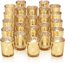 DARJEN 24Pcs Gold Votive Candle Holders for Table - Mercury Glass Votives Gold Candle Holder - Tealight Candle Holder for ...
