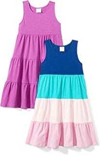 Amazon Brand - Spotted Zebra Girls' Toddler & Kids 2-Pack Knit Sleeveless Tiered Dresses