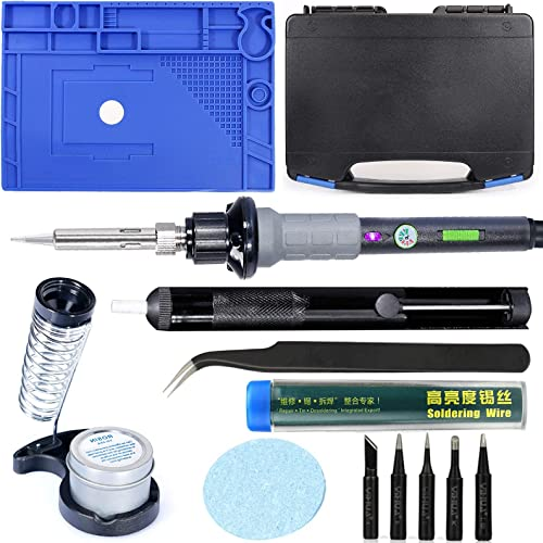 """high quality YIHUA 947-V Hand Soldering Iron Kit bundle with 17.32"""" sale x 12.20"""" M180 high quality Electronic Repair Mat with Iron Holder, Cleaning Kit, and Accessories (14 Items) online sale"""
