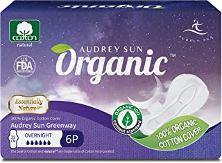 Audrey Sun Organic Pads and Organic Panty Liners for Women - Certified Organic Natural Cotton Pads - Overnight - 12 Count (Packaging May Vary) - Made in Korea ON12
