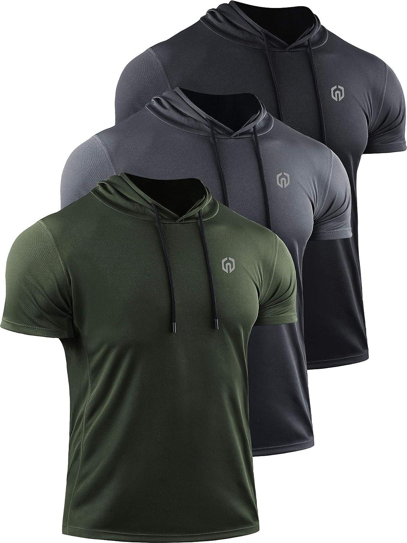Neleus Men's Running Shirt 3 Pack Dry Fit Mesh Athletic Workout