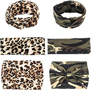 Yeshan Women and Girls Camo and Leopard Print Designs Non slip off Elastic Bow Headband Turban Twisted Head Wrap Sweat Wicking Hair Band - Great For Sports, Yoga, Fashion, and Running,Pack of 6
