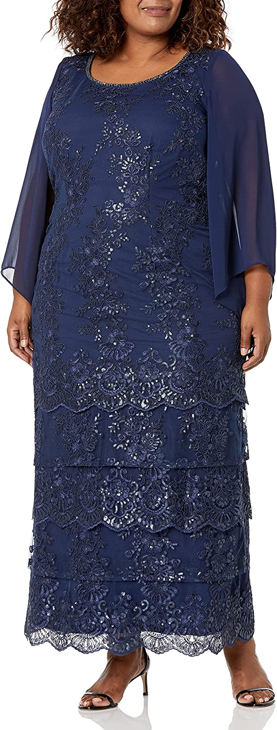 Brianna Women's Embellished Tiered Gown
