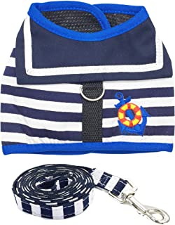 PACCOMFET Escape Proof Cat Harness with Leash Stripe Mesh and Adjustable for Dogs and Puppies